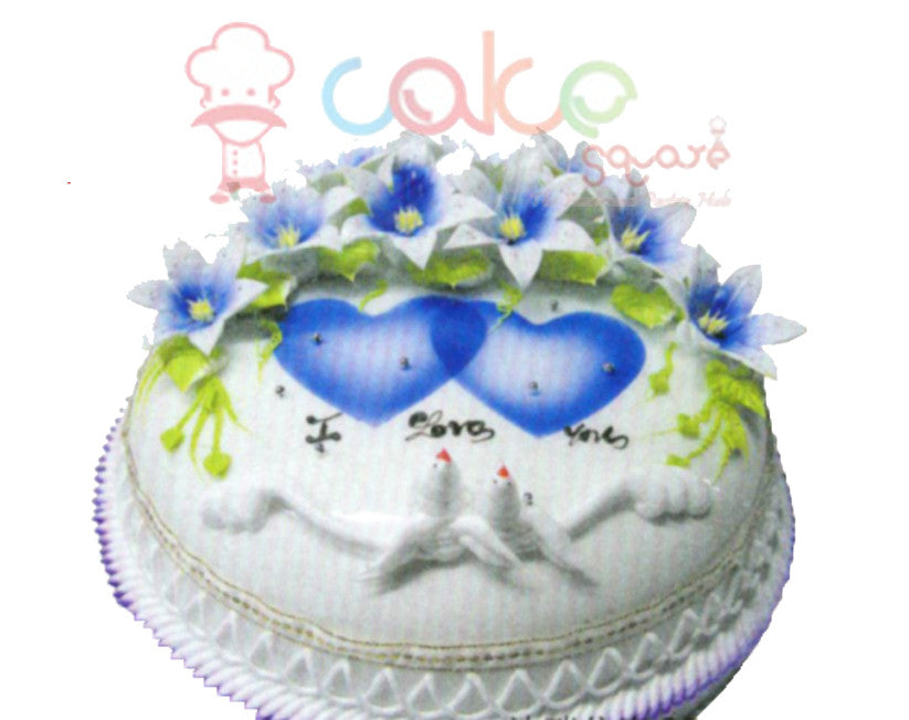 SD381 - Blue Heaven Birthday Cake