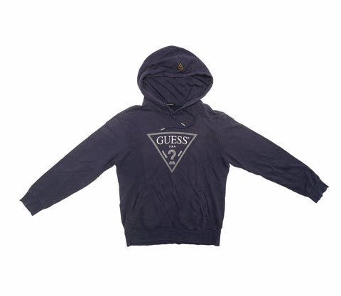 Guess Classic Logo Pullover Hoodie Blue Navy