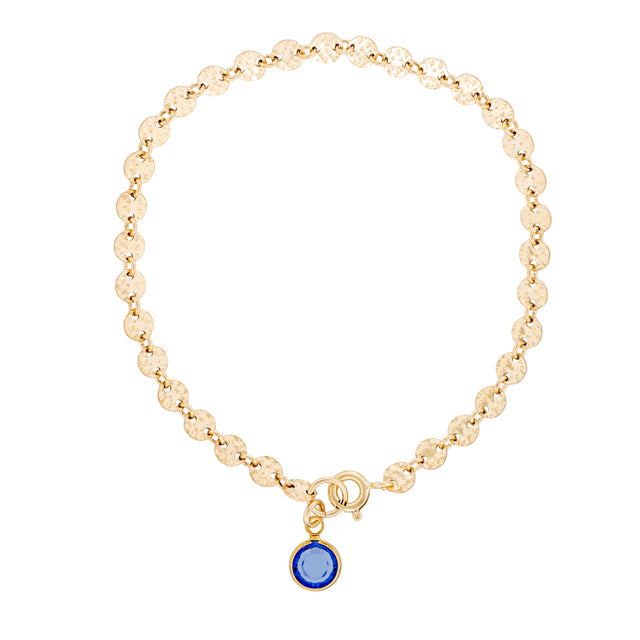 The Apollo Bracelet - 14k gold-filled hammered disk chain with blue Swarovski crystal, by Elvis et moi