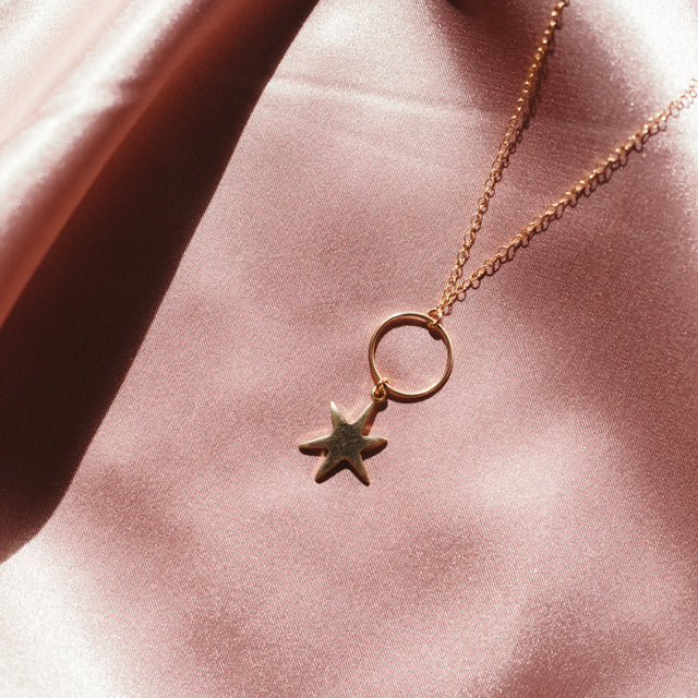 The Roman Necklace - 14k gold-filled pendant necklace with a circle and star charm, by Elvis et moi