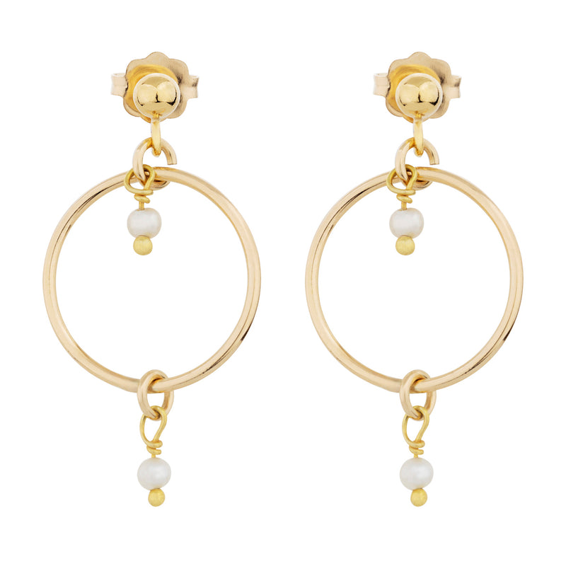 The Kali Earrings - 14k gold-filled drop earrings with a gold-filled circle and freshwater pearls, by Elvis et moi