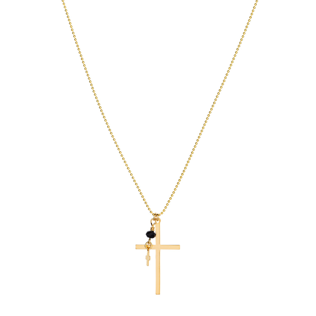 The Saint Esprit Necklace - 14k gold-filled pendant necklace, with gold cross charms & black Swarovski crystal