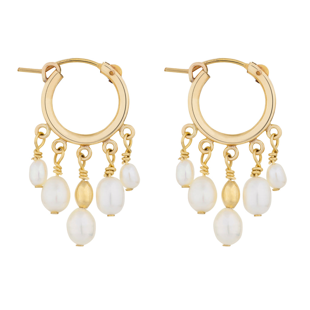 The Tara Earrings - 14k gold-filled mini hoops with freshwater pearls, by Elvis et moi