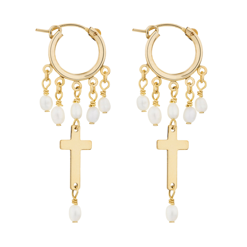 The Indi Earrings - 14k gold-filled, dangle earrings with mini hoops, freshwater pearls and cross charms, by Elvis et moi.
