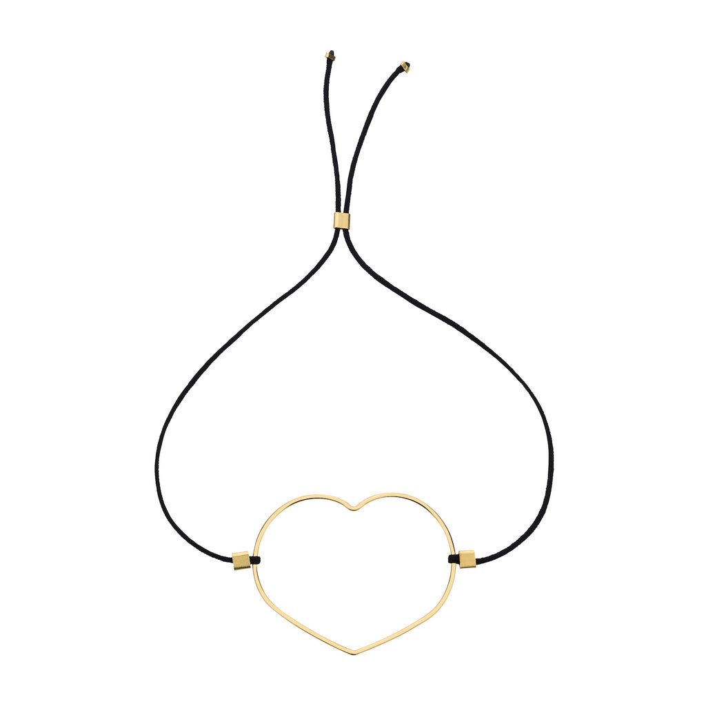The Trust Bracelet - cord tie bracelet with black cotton thread and gold-filled, heart-shaped charm, by Elvis et moi