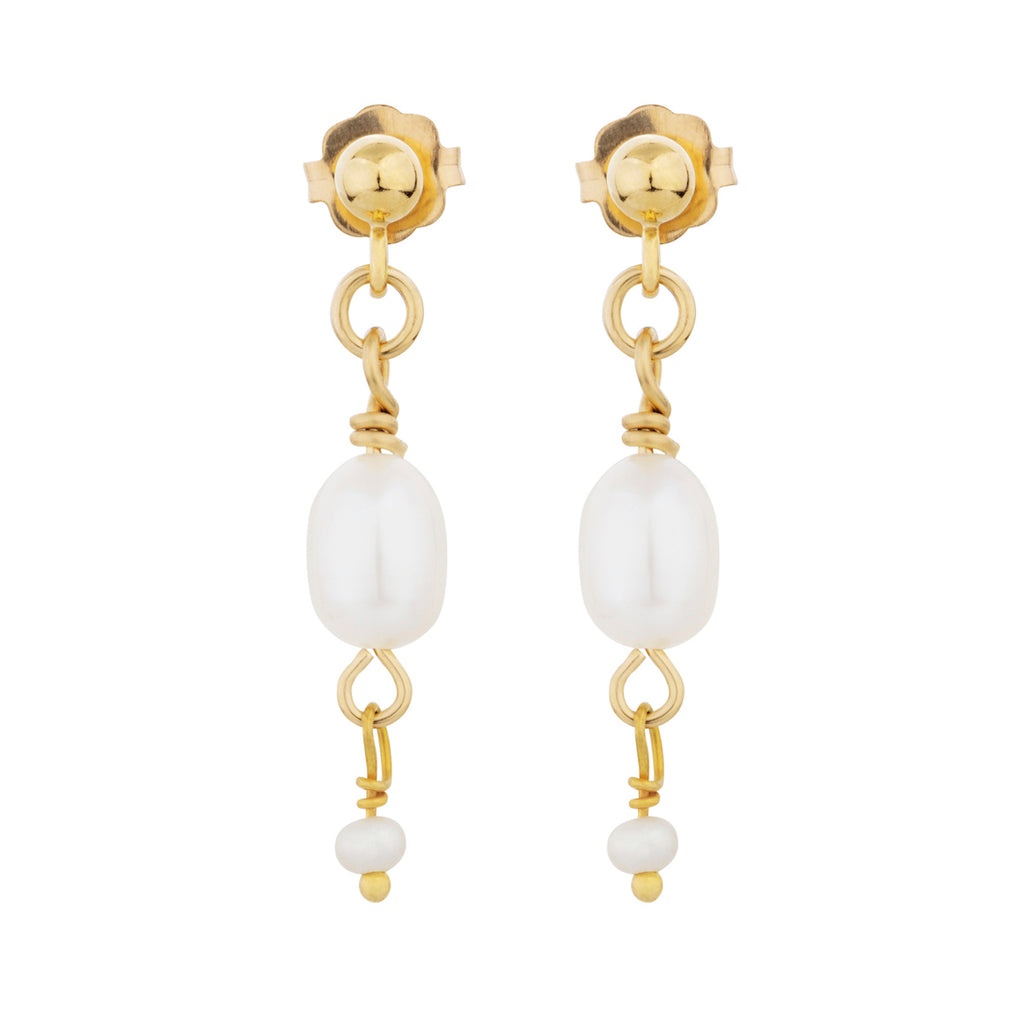 The Yin Earrings - 14k gold-filled drop earrings with a stud closure and freshwater pearls, by Elvis et moi
