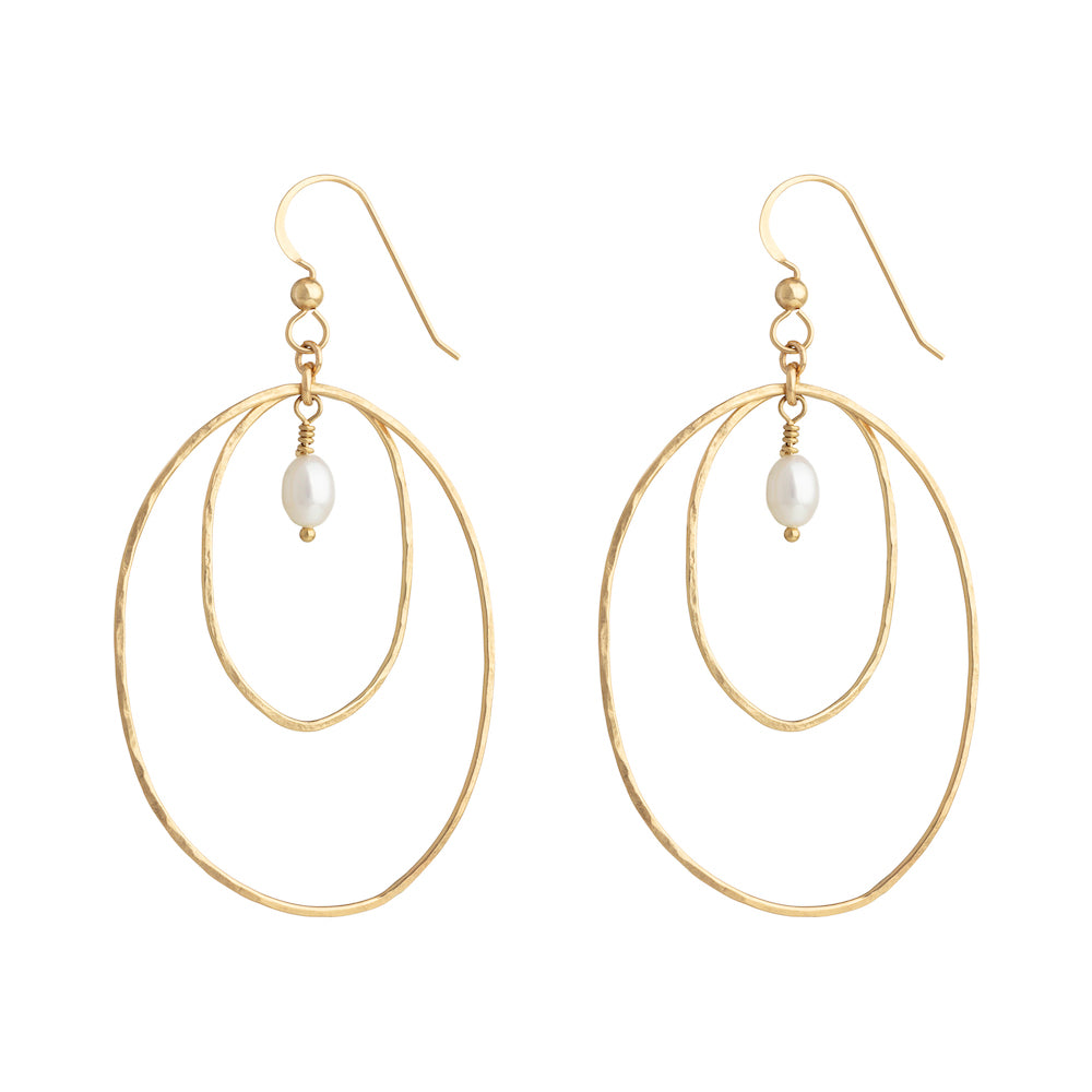 The Forever Earrings - 14k gold-filled dangle earrings with two hammered ovals and a freshwater pearl, by Elvis et moi