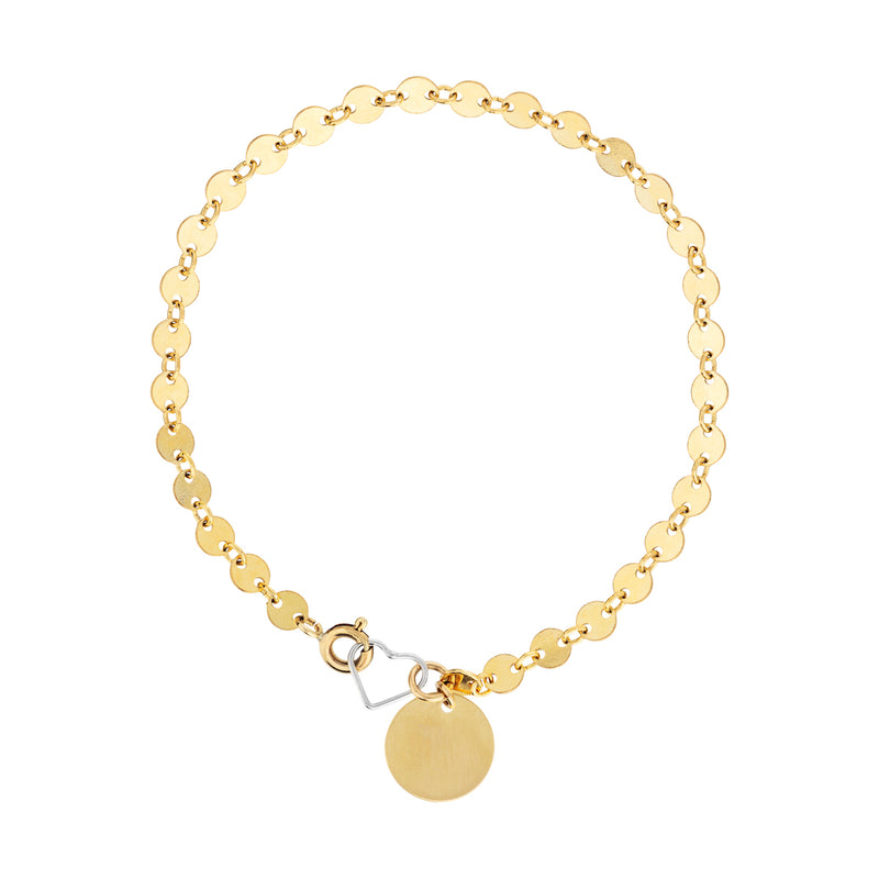 The Goddess Bracelet - 14k gold-filled disk chain & heart charm, with gold-filled tag charm, by Elvis et moi