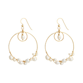 The Lady in White Earrings - 14k gold-filled, dangle earrings with circles & a string of freshwater pearls, by Elvis et moi