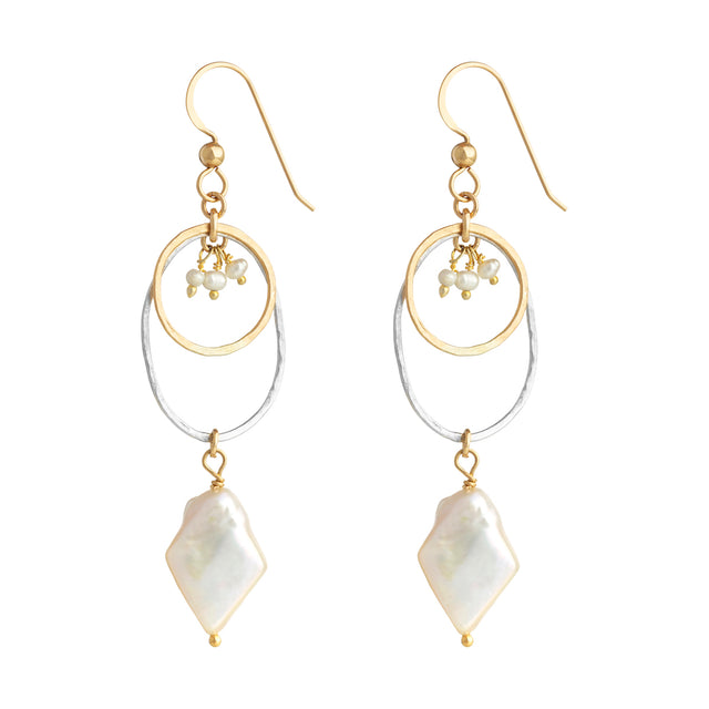 The Lucky Earrings - 14k gold-filled dangle earrings with gold and silver circles and freshwater pearls, by Elvis et moi
