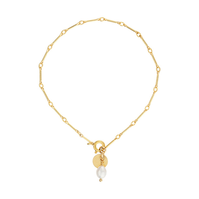 The Pearl Bracelet - 14k gold-filled chain bracelet with gold-filled charm & freshwater pearl, by Elvis et moi