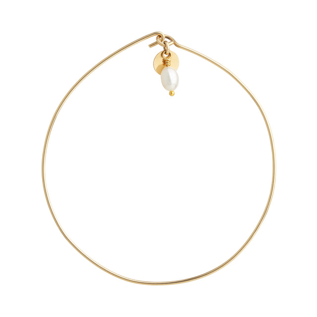 The Pearl Bangle - 14k gold-filled wire bangle with gold-filled charm and freshwater pearl, by Elvis et moi