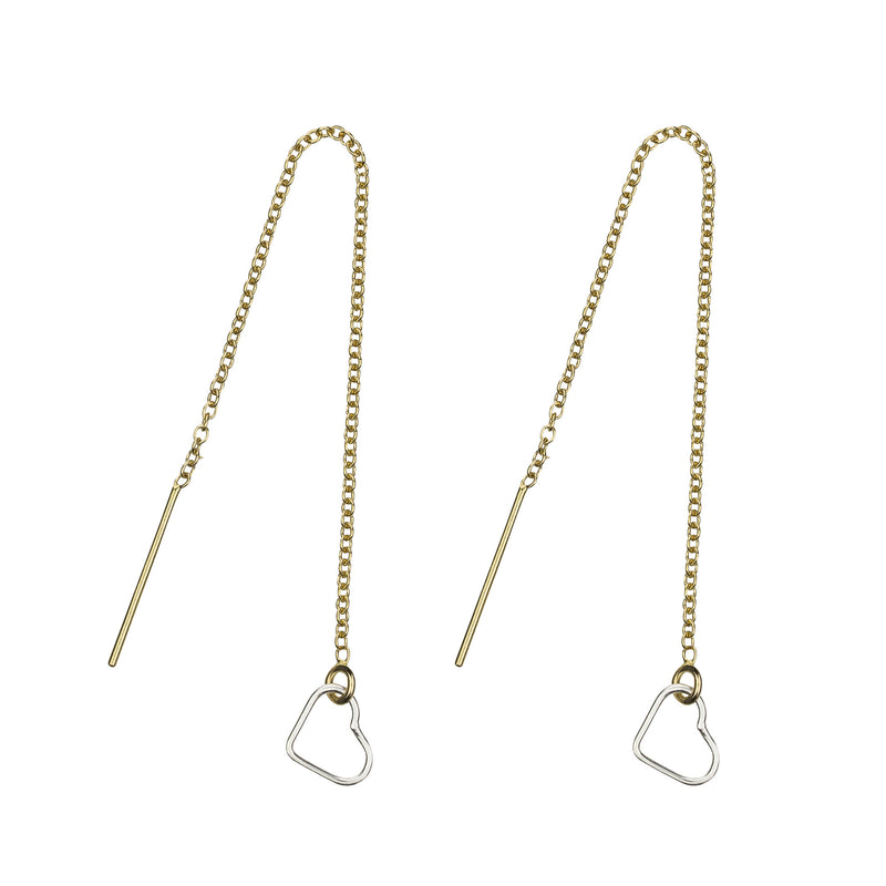 14k gold-filled, threader earrings with a sterling silver heart charm, made with love by Elvis et moi.