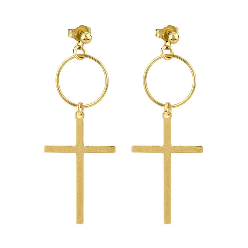 The Spirit Small Loop Earrings - 14k gold-filled, drop earrings with a circle and cross charm, by Elvis et moi
