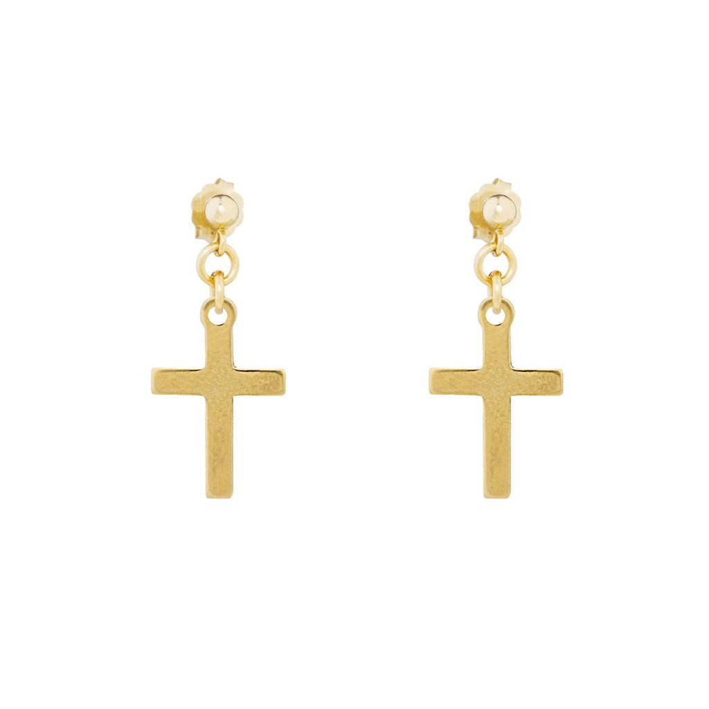 The Baby Spirit Stud Earrings - 14k gold-filled, drop earrings with a mini cross charm, by Elvis et moi