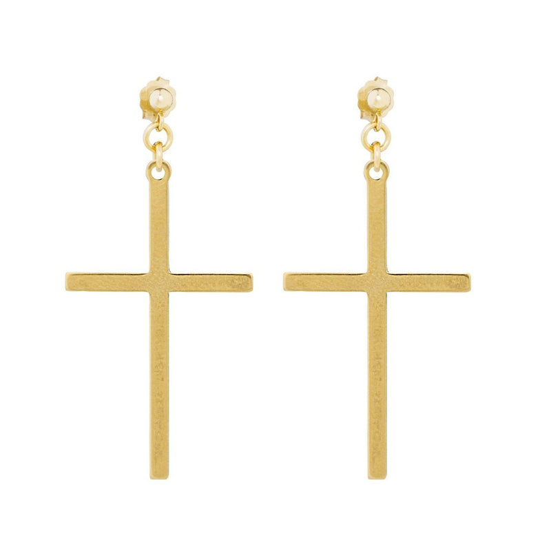 The Spirit Stud Earrings - 14k gold-filled, drop earrings with a large cross charm, by Elvis et moi