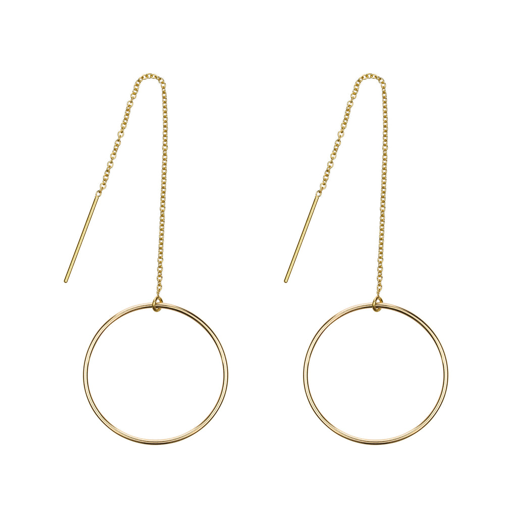 The Manon Earrings - 14k gold-filled threader earrings with circles by Elvis et moi