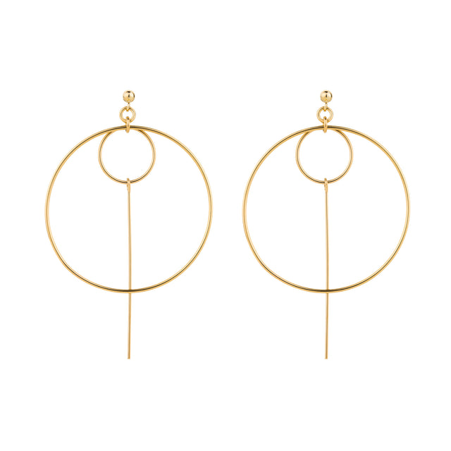 The Tova Earrings - 14k gold-filled dangle earrings with two circles and a bar by Elvis et moi