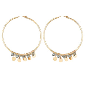 The Yasmine Earrings - gold-filled hoop earrings with Swarovski crystals and disc charms by Elvis et moi