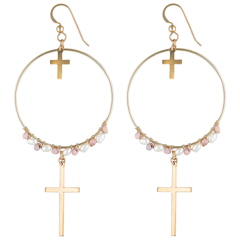 The Santa Maria Earrings - gold-filled dangle earrings with cross charms and freshwater pearls, by Elvis et moi