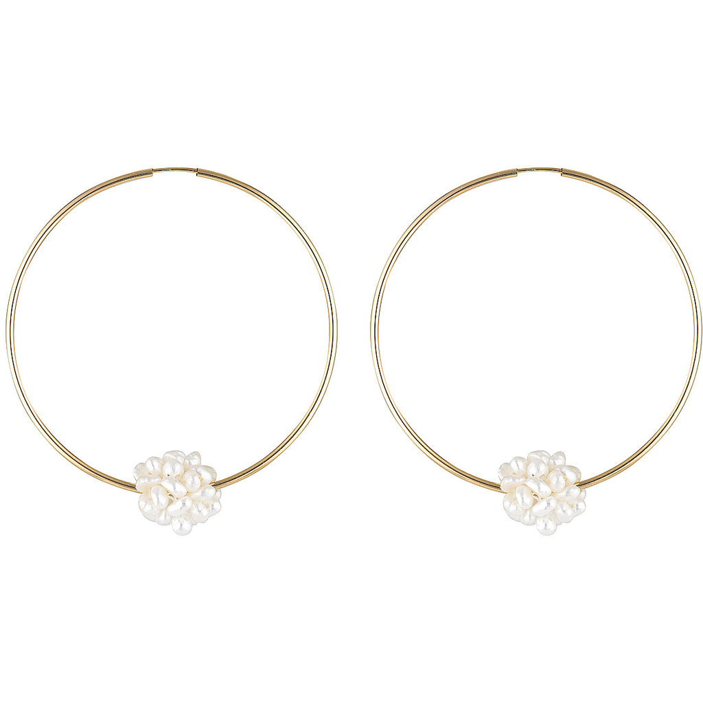 The Nixon Earrings - gold-filled hoop earrings with a cluster of freshwater pearls by Elvis et moi