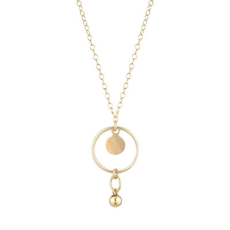 The Marcello Necklace - gold-filled pendant necklace with gold-filled disc charms, by Elvis et moi