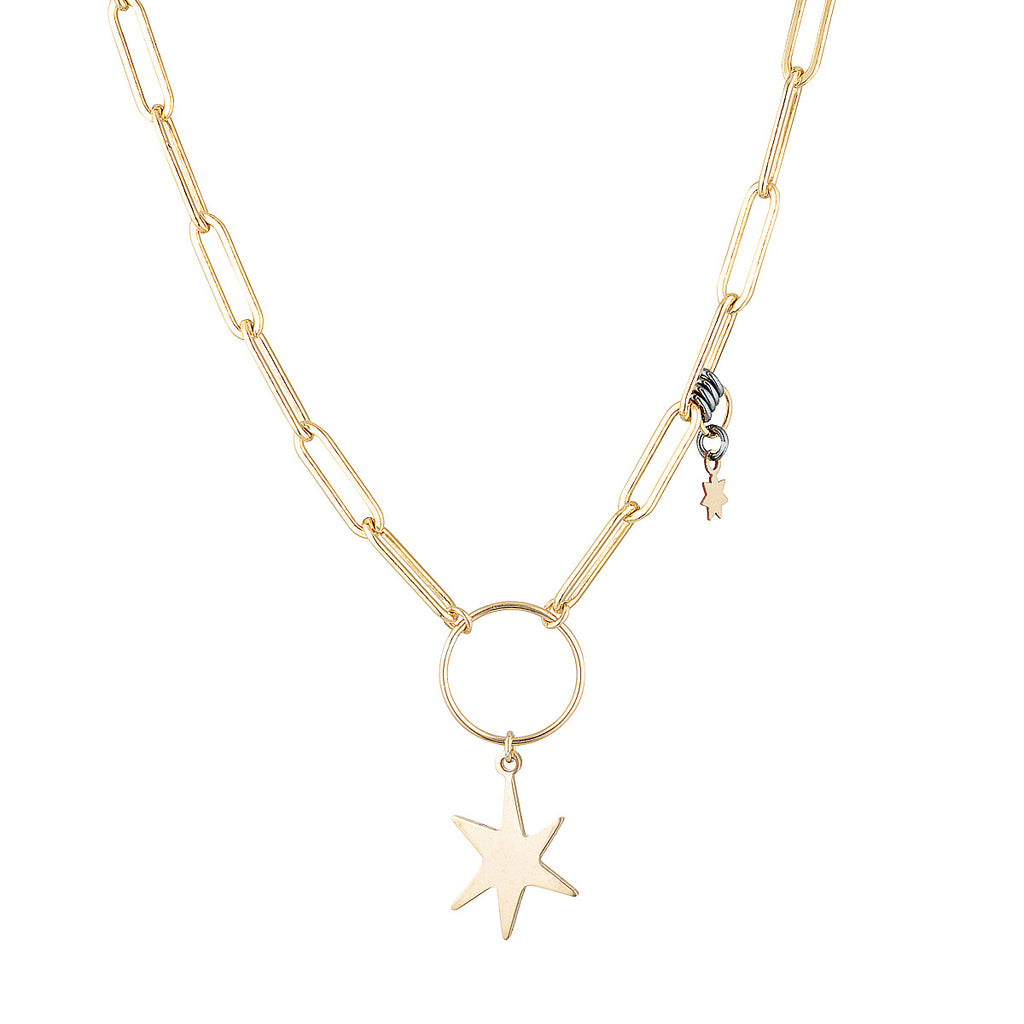 The Leon Gold Necklace - gold-filled open linked chain necklace with star charm, by Elvis et moi