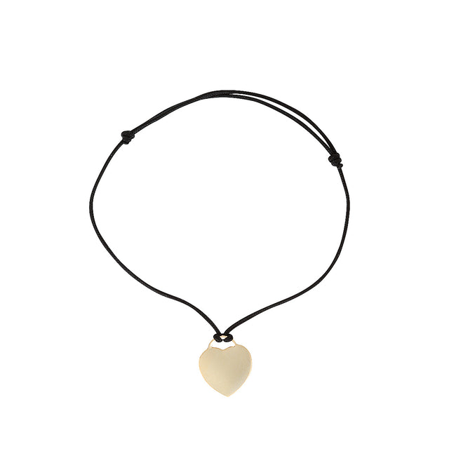 The Art Bracelet - cord tie bracelet with gold-filled heart charm, by Elvis et moi