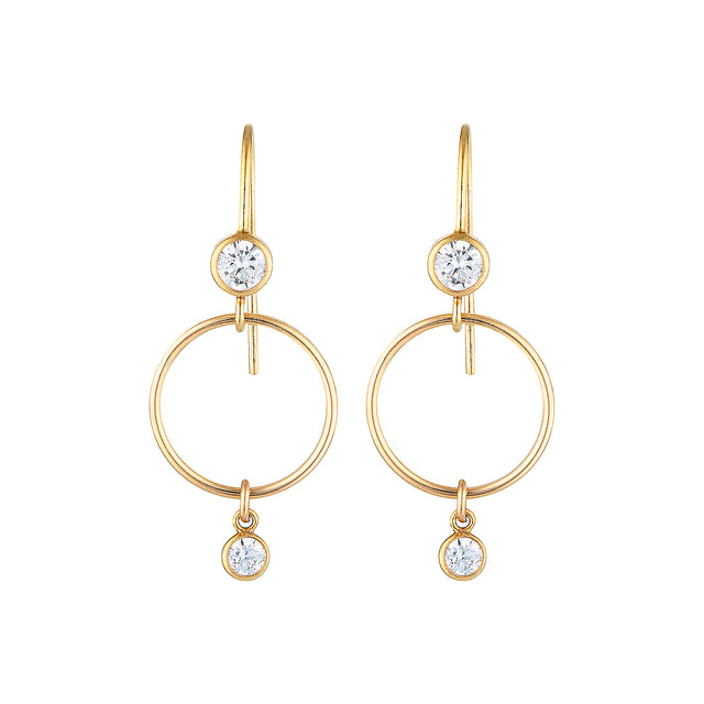 The Crystal Earrings - 14k gold-filled, drop earrings with a gold-filled circle and Swarovski crystals, by Elvis et moi.
