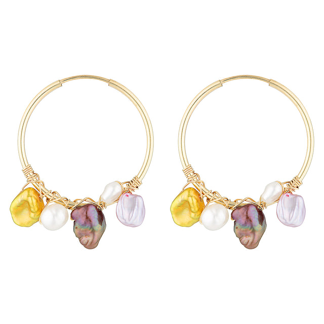 The Candy Earrings - 14k gold-filled, hoop earrings with white and coloured freshwater pearls, by Elvis et moi.