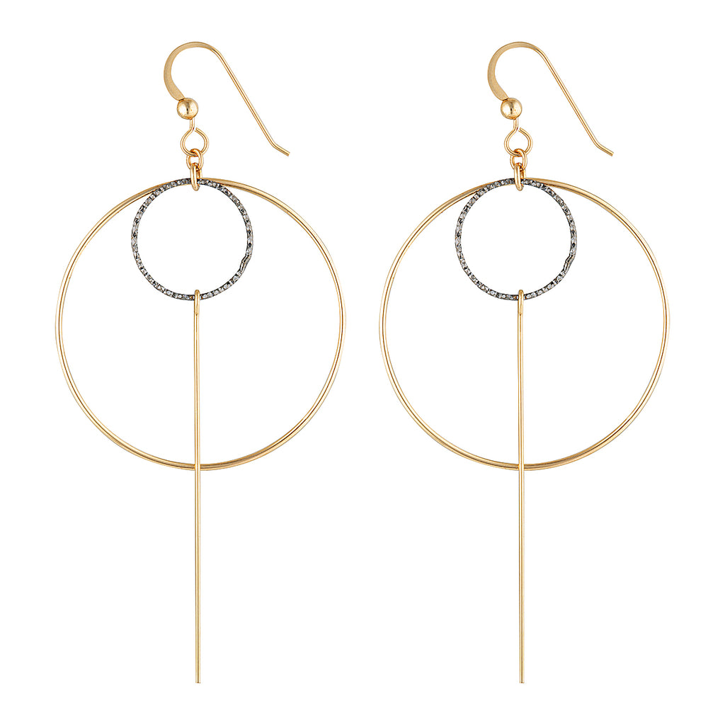The Dusk Earrings - 14k gold-filled, dangle earrings with gold-filled and silver circles and bar, by Elvis et moi.