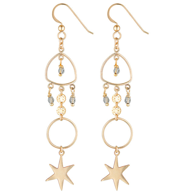 The Dew Earrings - 14k gold-filled, dangle earrings with circles, star charms and Swarovski crystals, by Elvis et moi.
