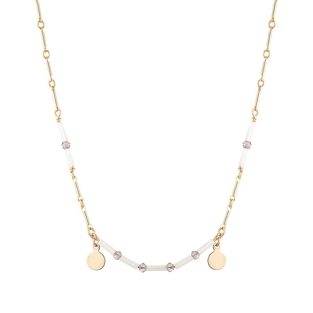 The Solar Necklace - 14k gold-filled chain with gold-filled charms, Swarovski crystals and Japanese glass beads, by Elvis et moi