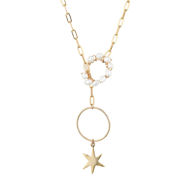 The Starlight Necklace - 14k gold-filled chain necklace with a star charm and string of freshwater pearls, by Elvis et moi