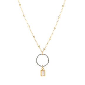 The Rise Necklace - 14k gold-filled chain with a hammered sterling silver circle and Swarovski crystal, by Elvis et moi