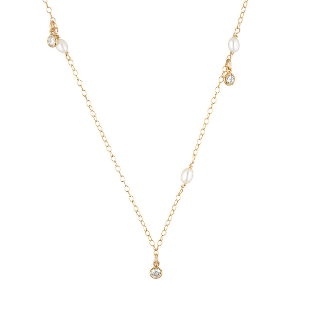 The Crystal Necklace - 14k gold-filled chain with Swarovski crystals and freshwater pearls, by Elvis et moi