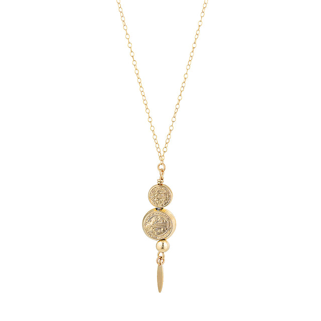 The Renewal Necklace - 14k gold-filled pendant necklace with patterned charms, by Elvis et moi