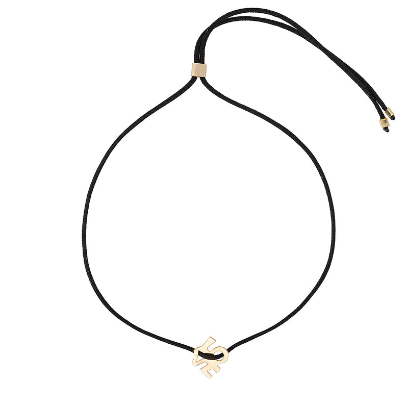 "The Love Bracelet - cord tie bracelet with black cotton thread and gold-filled, ""LOVE"" charm, by Elvis et moi"