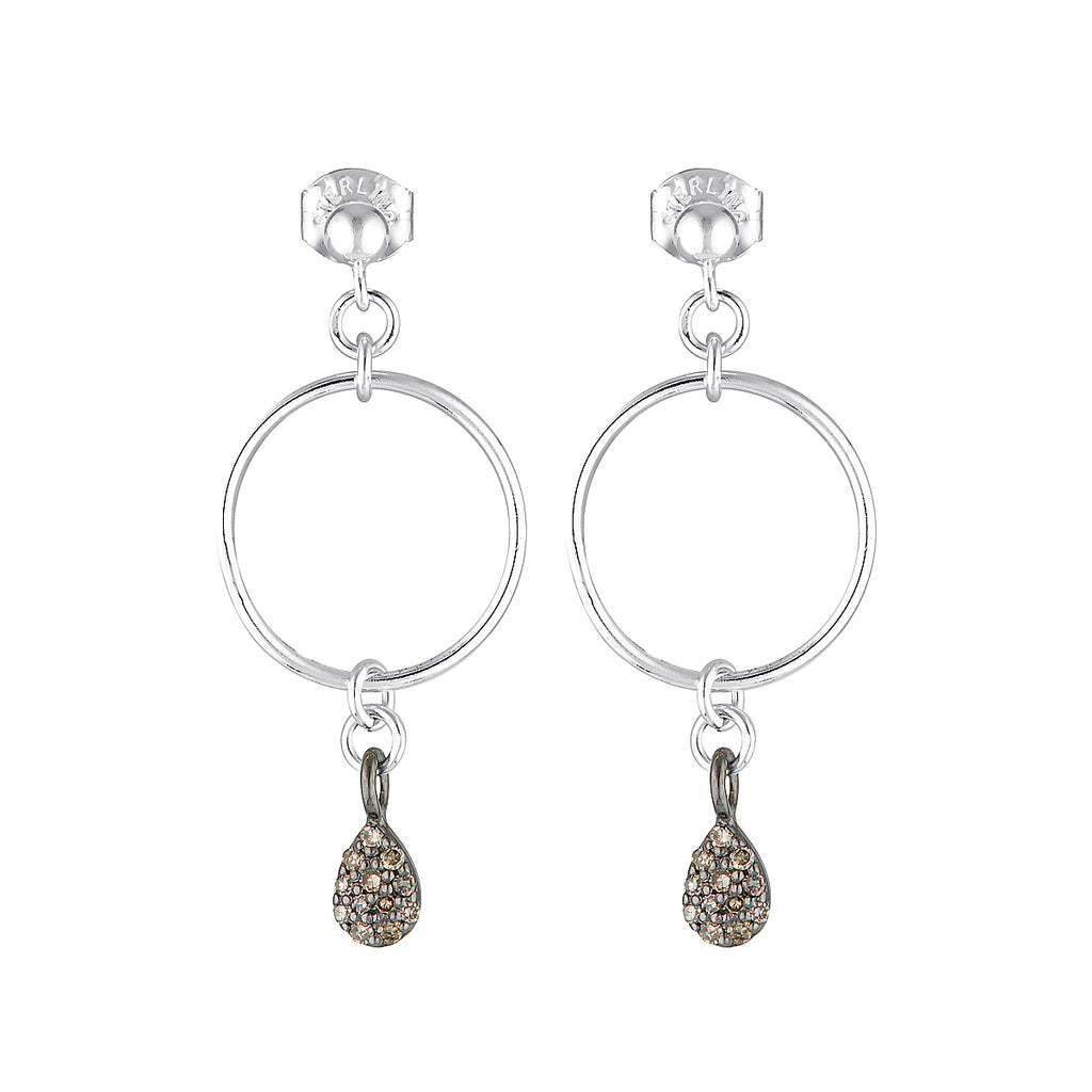 The Brillant Earrings - sterling silver stud drop earrings with a zirconium charm by Elvis et moi