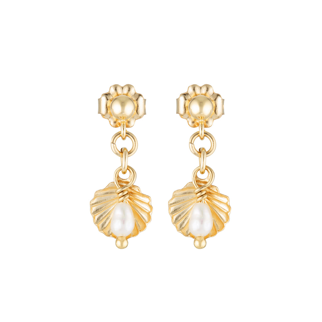 The Shella Earrings - 14k gold-filled, drop earrings with shell charm and freshwater pearl, by Elvis et moi.