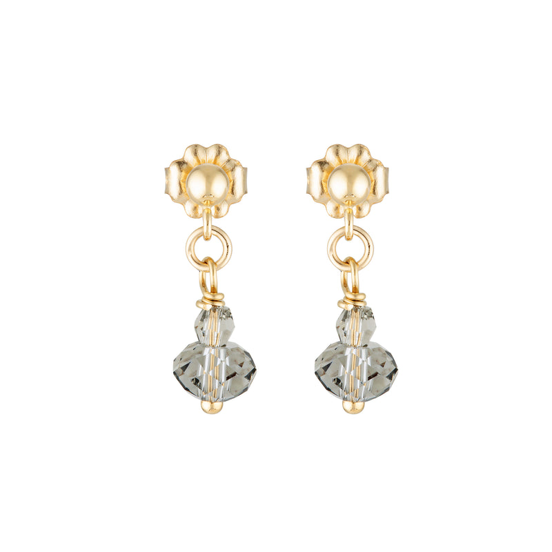 The Mini Crystal Earrings - 14k gold-filled, drop earrings with Swarovski crystals, by Elvis et moi.