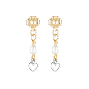 The Cupidon Earrings - 14k gold-filled, drop earrings with a heart charm and freshwater pearl, by Elvis et moi.