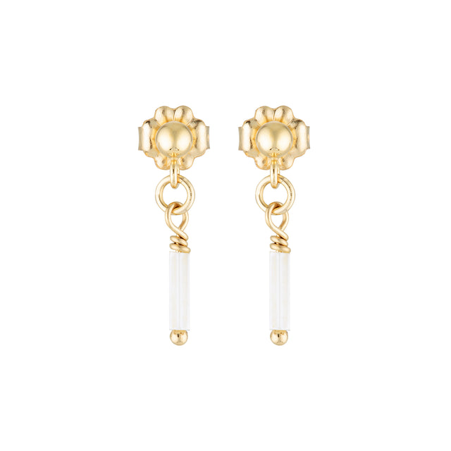 The Mini Snowflake Earrings - 14k gold-filled, drop earrings with white, glass beads, by Elvis et moi.
