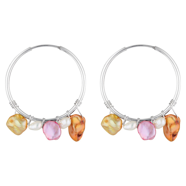 The Silver Candy Earrings - sterling silver small hoop earrings with coloured freshwater pearls by Elvis et moi