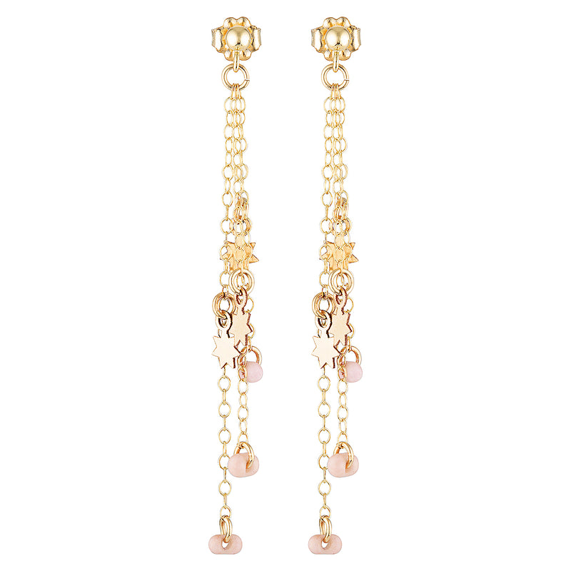 The Pluie Earrings - gold-filled stud, dangle earrings with chains, star charms and blush pink Japanese beads by Elvis et moi