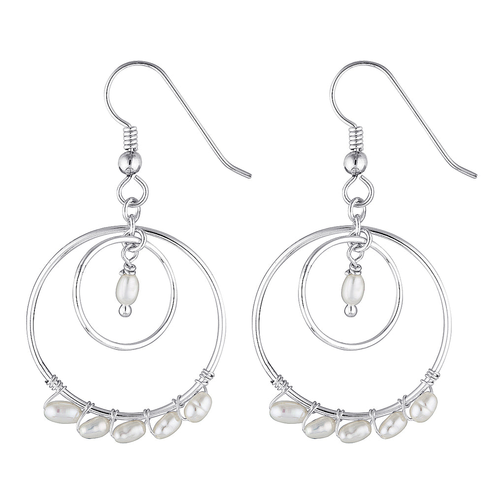 The George Earrings - sterling silver dangle earrings with a string of freshwater pearls by Elvis et moi