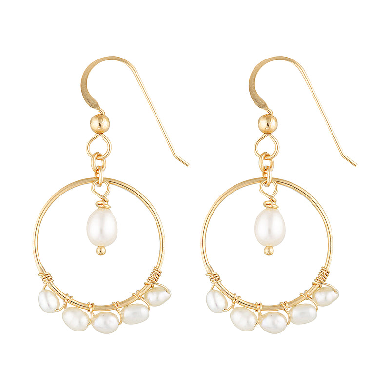 The Carter Earrings - 14k gold-filled, dangle earrings with a string of freshwater pearls on a circle, by Elvis et moi.