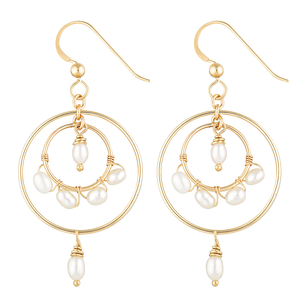 The Bill Earrings - 14k gold-filled dangle earrings with two circles and freshwater pearls, by Elvis et moi