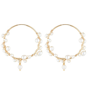 The Tom Medium Earrings - 14k gold-filled hoop earrings with a 3.7cm diameter and string of freshwater pearls, by Elvis et moi