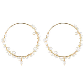 The Tom Large Earrings - 14k gold-filled hoop earrings with a 5cm diameter and string of freshwater pearls, by Elvis et moi